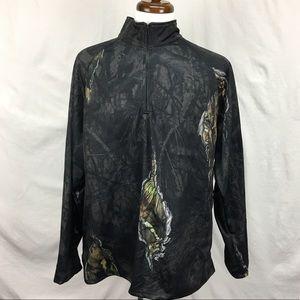 NWT Mossy Oak Camo 1/4 Zip Up Pullover Shirt Sz XL